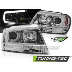 Передние фары TUBE LIGHT CHROME для Jeep Grand Cherokee WJ