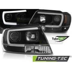 Передние фары TUBE LIGHT BLACK для Jeep Grand Cherokee WJ