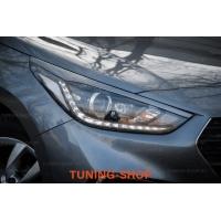 Ресницы на фары узкие для Hyundai Solaris 2